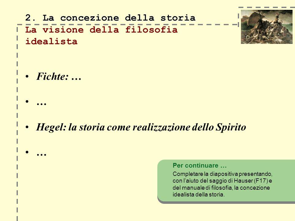 2. La concezione della storia 2. La concezione della storia La visione della filosofia idealista Fichte: … … Hegel: la storia come realizzazione dello
