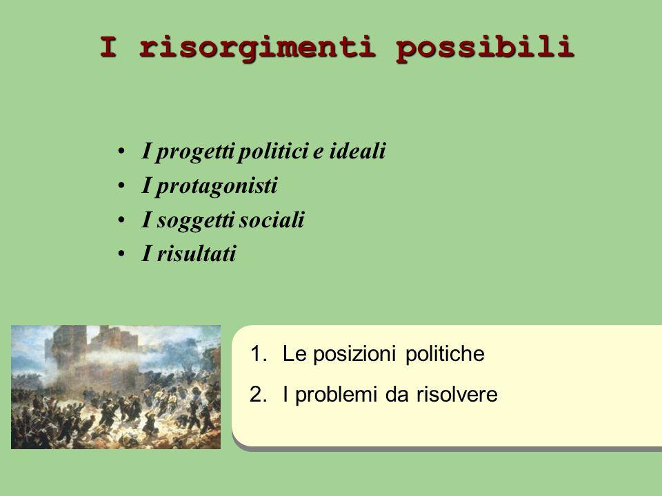 I risorgimenti possibili I progetti politici e ideali I protagonisti I soggetti sociali I risultati 1.