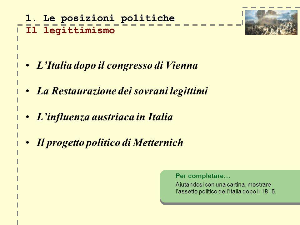 LItalia dopo il congresso di Vienna La Restaurazione dei sovrani legittimi Linfluenza austriaca in Italia Il progetto politico di Metternich Per completare… Aiutandosi con una cartina, mostrare lassetto politico dellItalia dopo il 1815.