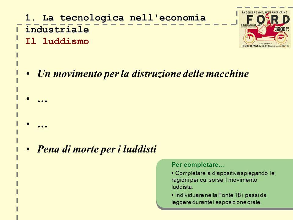 1. La tecnologica nell'economia industriale 1. La tecnologica nell'economia industriale Il luddismo Un movimento per la distruzione delle macchine … …