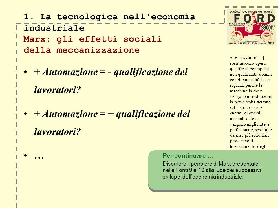 1. La tecnologica nell'economia industriale 1. La tecnologica nell'economia industriale Marx: gli effetti sociali della meccanizzazione + Automazione