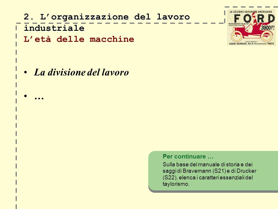 2. Lorganizzazione del lavoro industriale 2. Lorganizzazione del lavoro industriale Letà delle macchine La divisione del lavoro … Per continuare … Sul