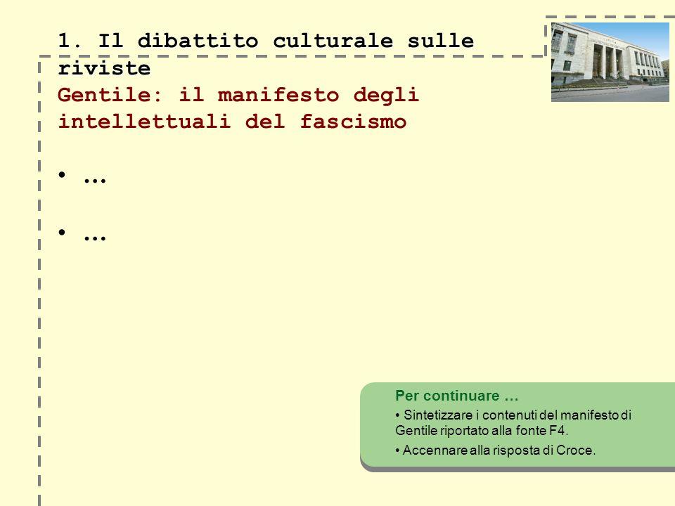 1.Il dibattito culturale sulle riviste 1.