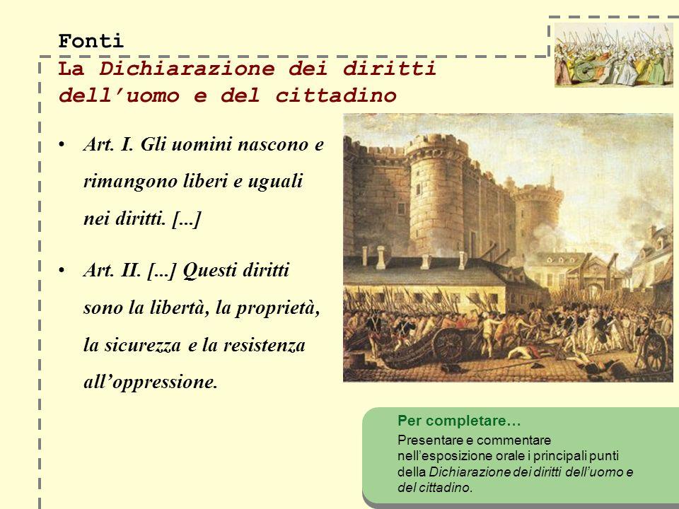 Fonti Fonti La Dichiarazione dei diritti delluomo e del cittadino Art. I. Gli uomini nascono e rimangono liberi e uguali nei diritti. [...] Art. II. [