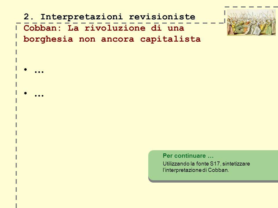 2. Interpretazioni revisioniste 2. Interpretazioni revisioniste Cobban: La rivoluzione di una borghesia non ancora capitalista Per continuare … Utiliz