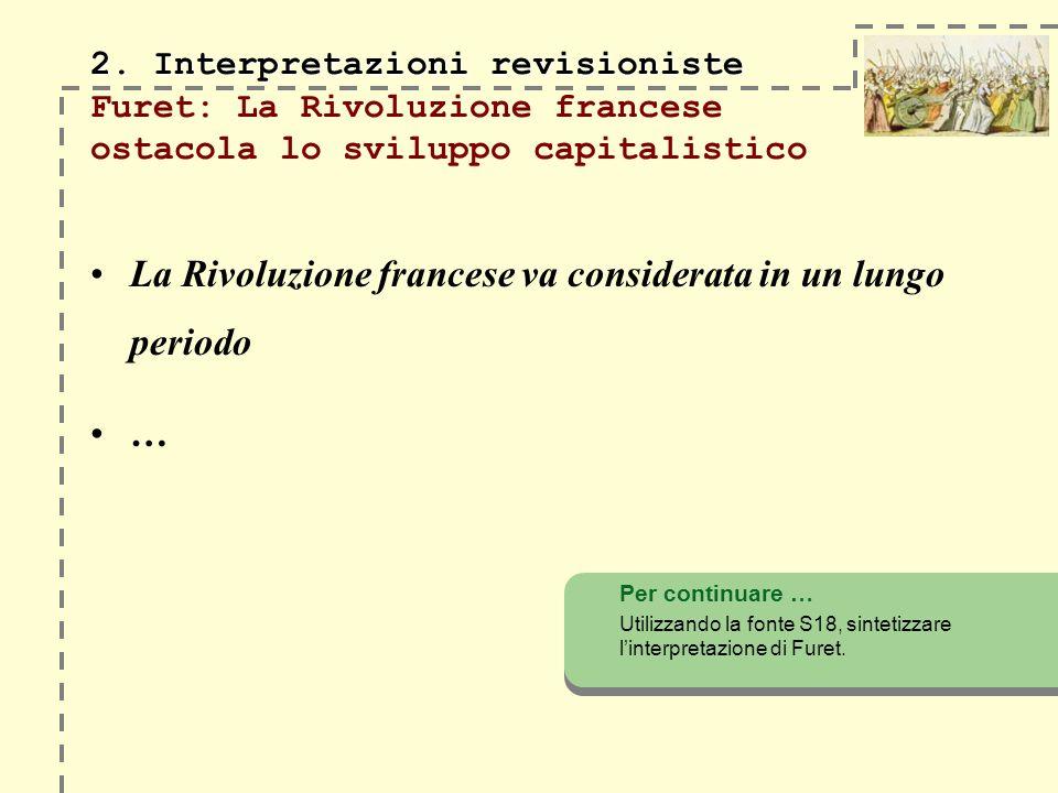 2. Interpretazioni revisioniste 2. Interpretazioni revisioniste Furet: La Rivoluzione francese ostacola lo sviluppo capitalistico La Rivoluzione franc