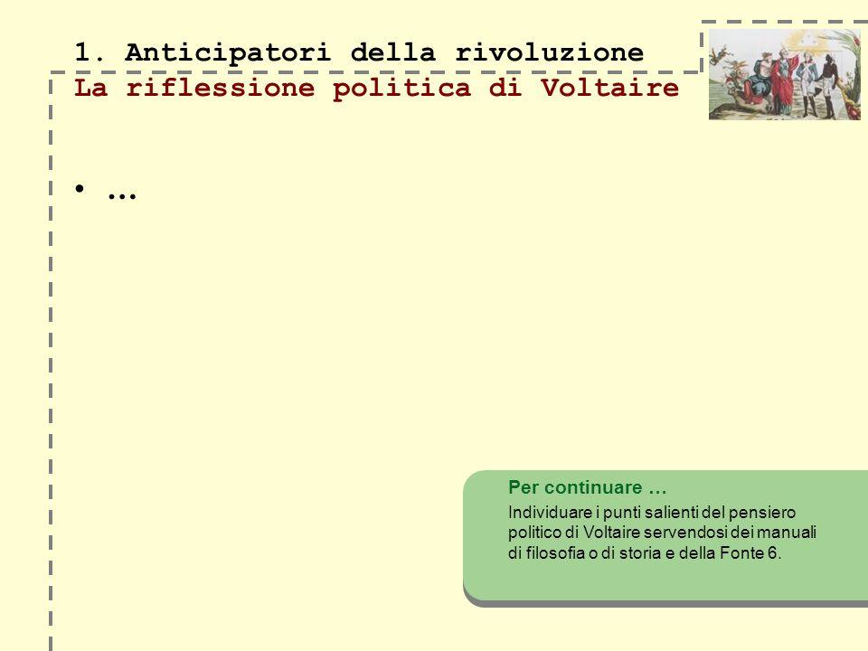 1. Anticipatori della rivoluzione La riflessione politica di Voltaire … Per continuare … Individuare i punti salienti del pensiero politico di Voltair