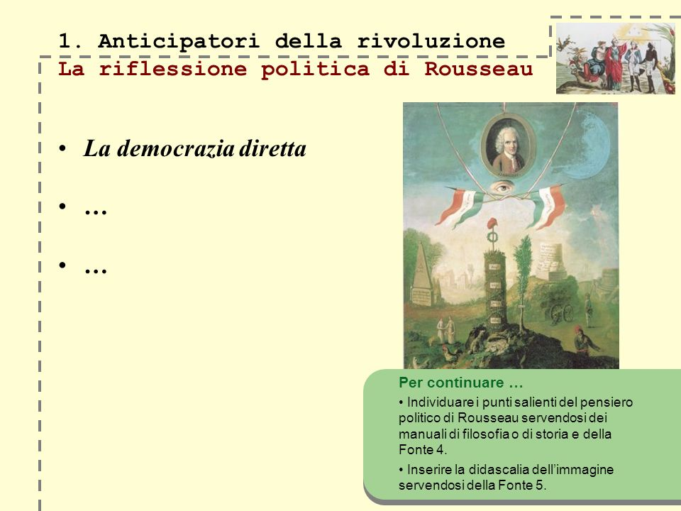 1. Anticipatori della rivoluzione La riflessione politica di Rousseau La democrazia diretta … … Per continuare … Individuare i punti salienti del pens