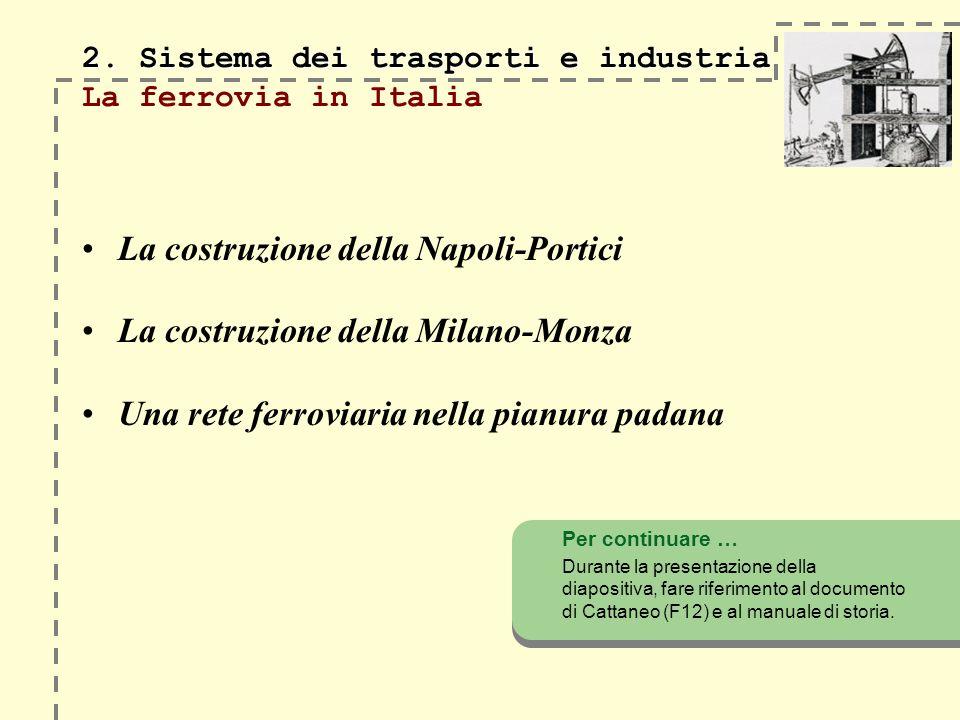 2. Sistema dei trasporti e industria 2. Sistema dei trasporti e industria La ferrovia in Italia La costruzione della Napoli-Portici La costruzione del