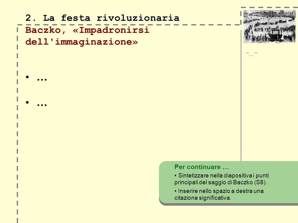 2. La festa rivoluzionaria 2. La festa rivoluzionaria Baczko, «Impadronirsi dell'immaginazione» … … Per continuare … Sintetizzare nella diapositiva i