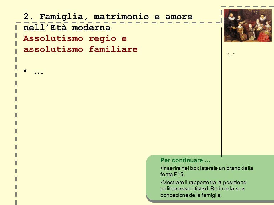 2. Famiglia, matrimonio e amore nellEtà moderna 2. Famiglia, matrimonio e amore nellEtà moderna Assolutismo regio e assolutismo familiare … Per contin