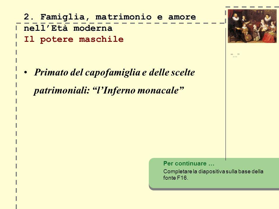 2. Famiglia, matrimonio e amore nellEtà moderna 2. Famiglia, matrimonio e amore nellEtà moderna Il potere maschile Primato del capofamiglia e delle sc