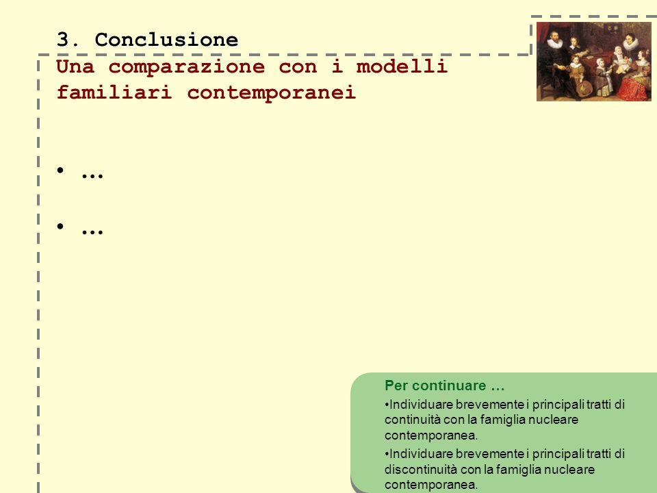 3. Conclusione 3. Conclusione Una comparazione con i modelli familiari contemporanei … … Per continuare … Individuare brevemente i principali tratti d