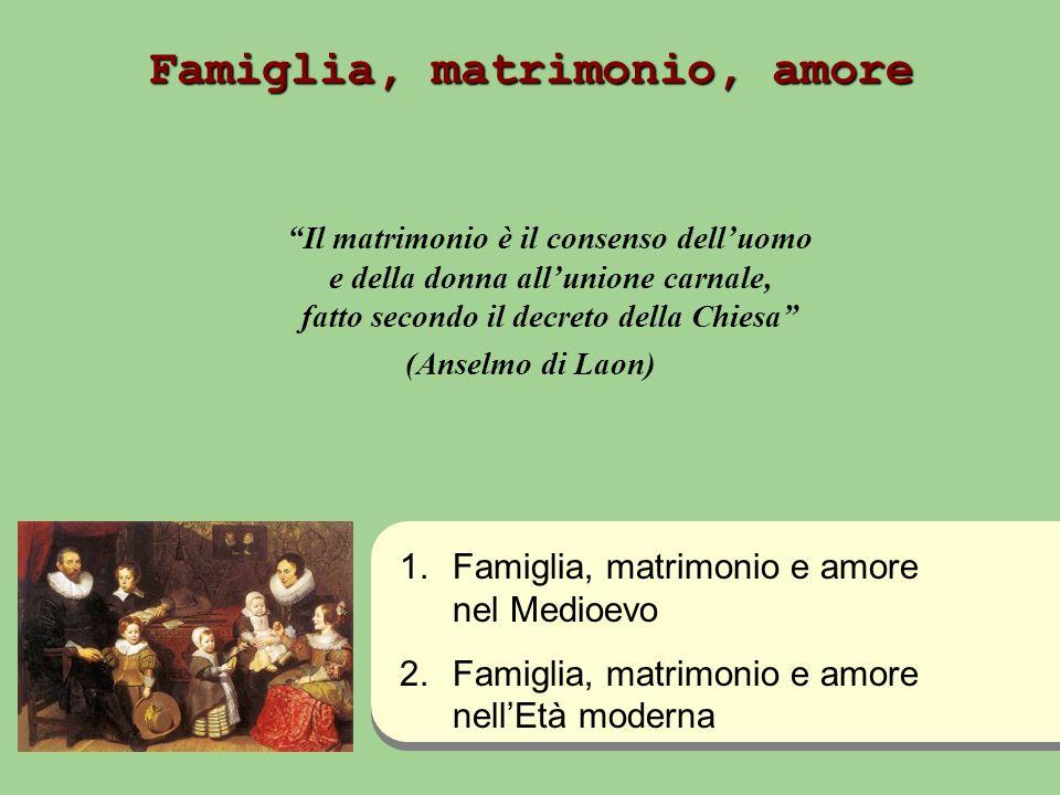 Famiglia, matrimonio, amore Il matrimonio è il consenso delluomo e della donna allunione carnale, fatto secondo il decreto della Chiesa (Anselmo di La