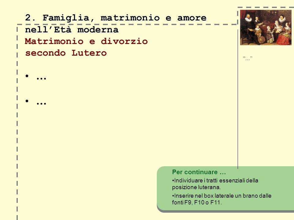 … … 2. Famiglia, matrimonio e amore nellEtà moderna 2. Famiglia, matrimonio e amore nellEtà moderna Matrimonio e divorzio secondo Lutero Per continuar