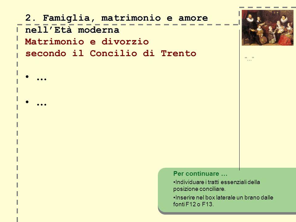 … … 2. Famiglia, matrimonio e amore nellEtà moderna 2. Famiglia, matrimonio e amore nellEtà moderna Matrimonio e divorzio secondo il Concilio di Trent