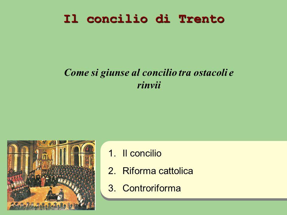 Il concilio di Trento Come si giunse al concilio tra ostacoli e rinvii 1. 1.Il concilio 2. 2.Riforma cattolica 3. 3.Controriforma