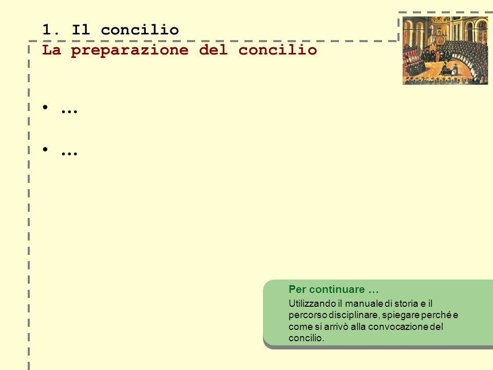 1. Il concilio 1. Il concilio La preparazione del concilio … … Per continuare … Utilizzando il manuale di storia e il percorso disciplinare, spiegare