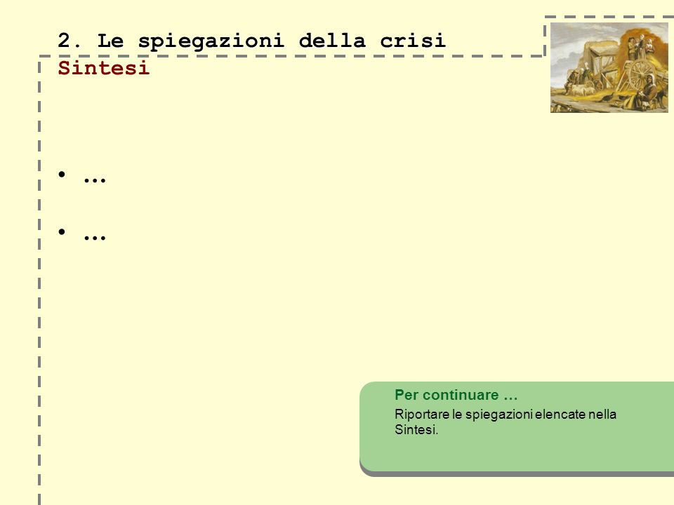 2. Le spiegazioni della crisi 2. Le spiegazioni della crisi Sintesi … … Per continuare … Riportare le spiegazioni elencate nella Sintesi.
