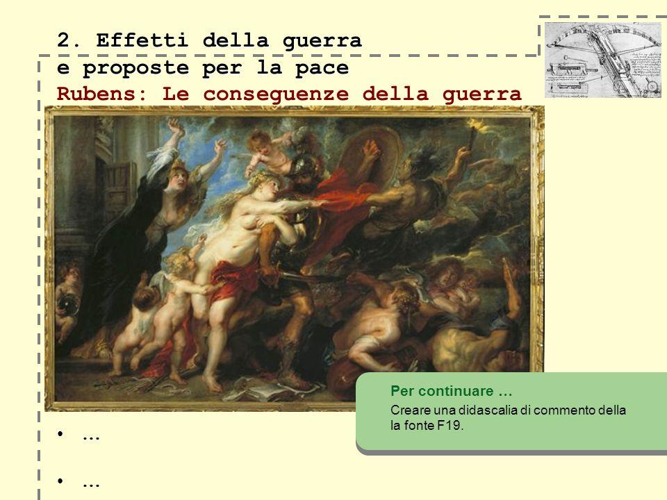 2. Effetti della guerra e proposte per la pace 2. Effetti della guerra e proposte per la pace Rubens: Le conseguenze della guerra Per continuare … Cre