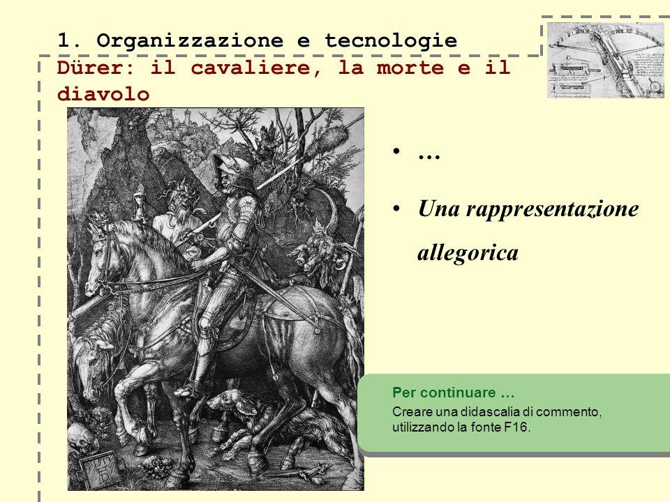 1. Organizzazione e tecnologie 1. Organizzazione e tecnologie Dürer: il cavaliere, la morte e il diavolo Per continuare … Creare una didascalia di com