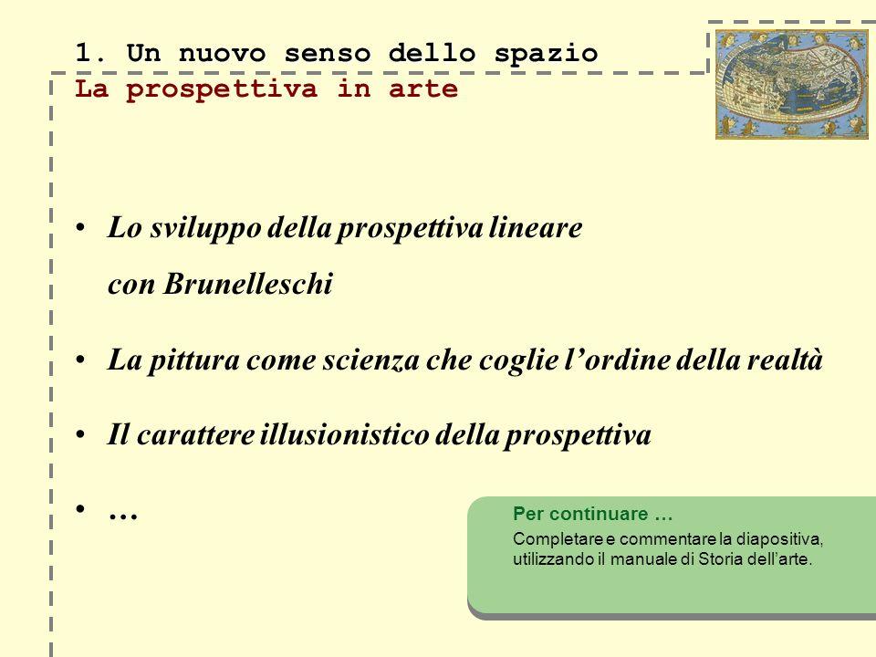 1. Un nuovo senso dello spazio 1. Un nuovo senso dello spazio La prospettiva in arte Lo sviluppo della prospettiva lineare con Brunelleschi La pittura