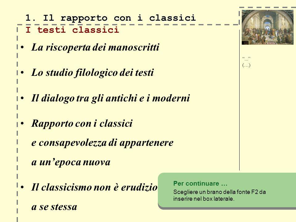 1. Il rapporto con i classici 1.