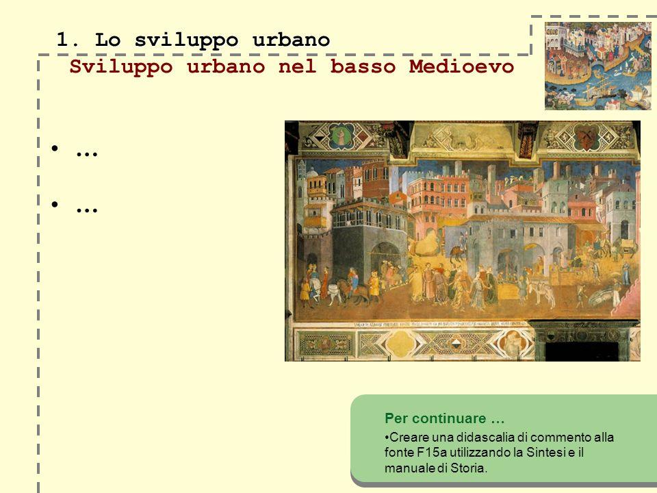 1. Lo sviluppo urbano 1. Lo sviluppo urbano Sviluppo urbano nel basso Medioevo Per continuare … Creare una didascalia di commento alla fonte F15a util