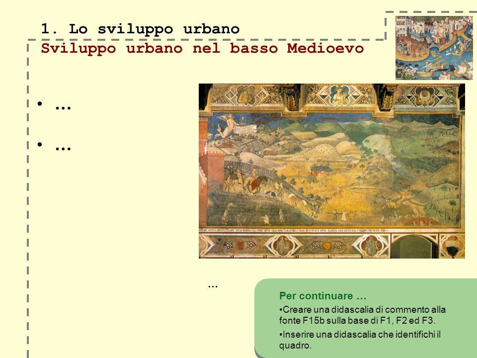 1. Lo sviluppo urbano 1. Lo sviluppo urbano Sviluppo urbano nel basso Medioevo Per continuare … Creare una didascalia di commento alla fonte F15b sull
