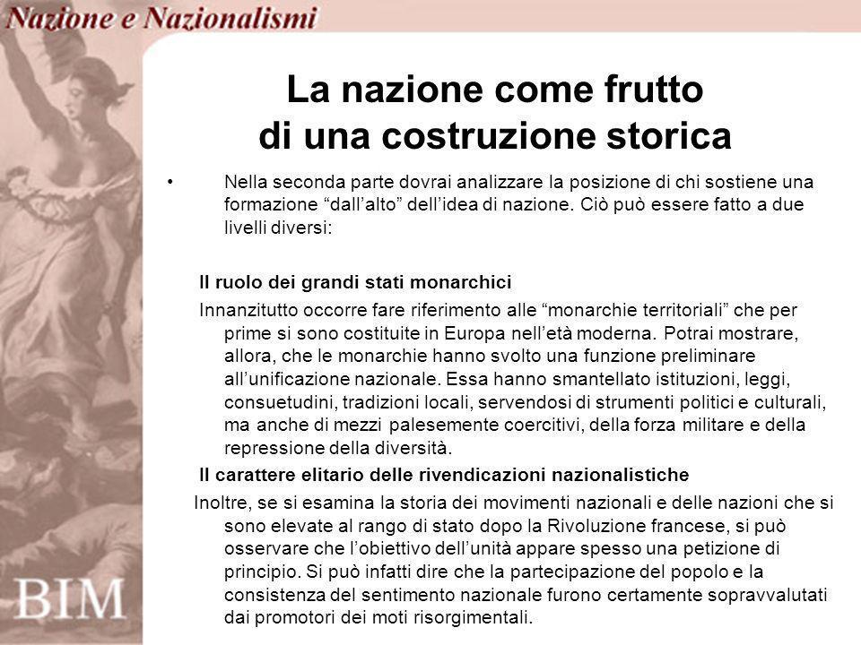 La nazionalizzazione delle masse Alla luce di queste considerazioni puoi ora affrontare la questione della nazionalizzazione delle masse che costituisce un elemento strutturale del processo di formazione degli stati moderni.