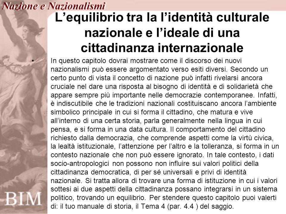 In questo capitolo dovrai mostrare come il discorso dei nuovi nazionalismi può essere argomentato verso esiti diversi.
