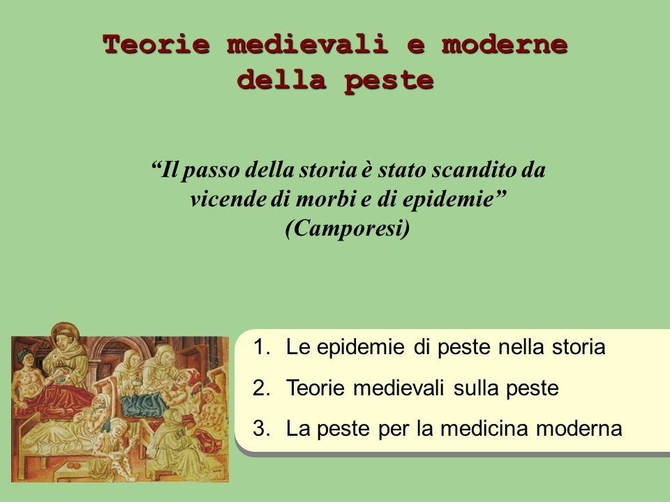 Teorie medievali e moderne della peste Il passo della storia è stato scandito da vicende di morbi e di epidemie (Camporesi) 1.