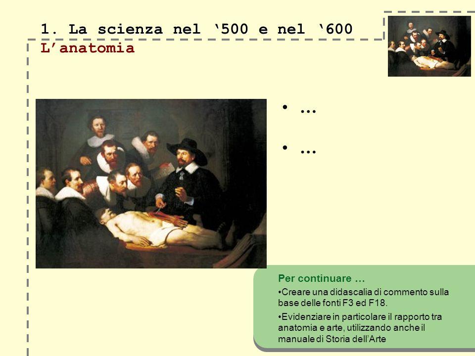 1. La scienza nel 500 e nel 600 1.
