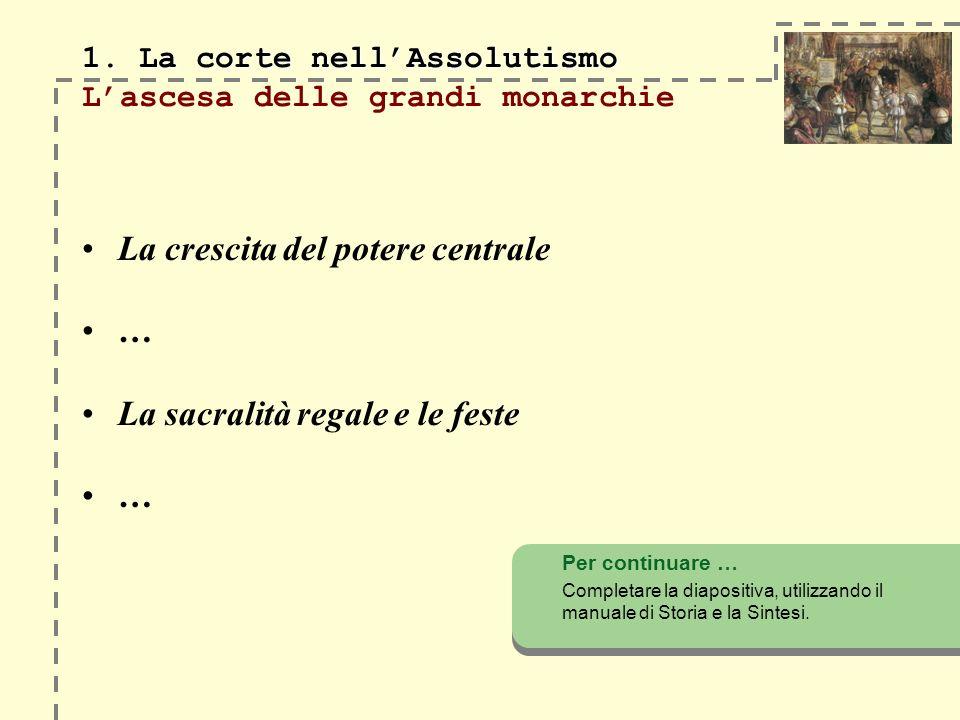 1. La corte nellAssolutismo 1.