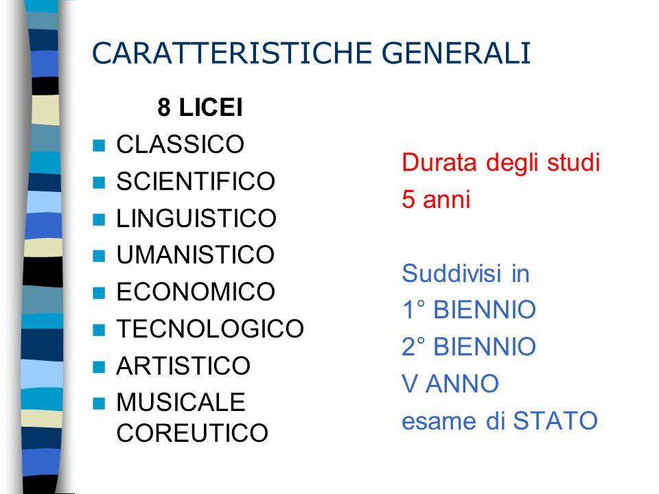 CARATTERISTICHE GENERALI 8 LICEI CLASSICO SCIENTIFICO LINGUISTICO UMANISTICO ECONOMICO TECNOLOGICO ARTISTICO MUSICALE COREUTICO Durata degli studi 5 a