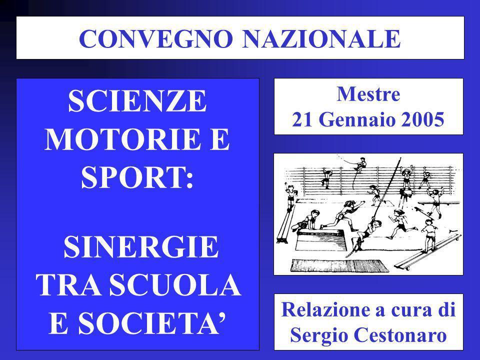 SCIENZE MOTORIE E SPORT: SINERGIE TRA SCUOLA E SOCIETA Relazione a cura di Sergio Cestonaro CONVEGNO NAZIONALE Mestre 21 Gennaio 2005