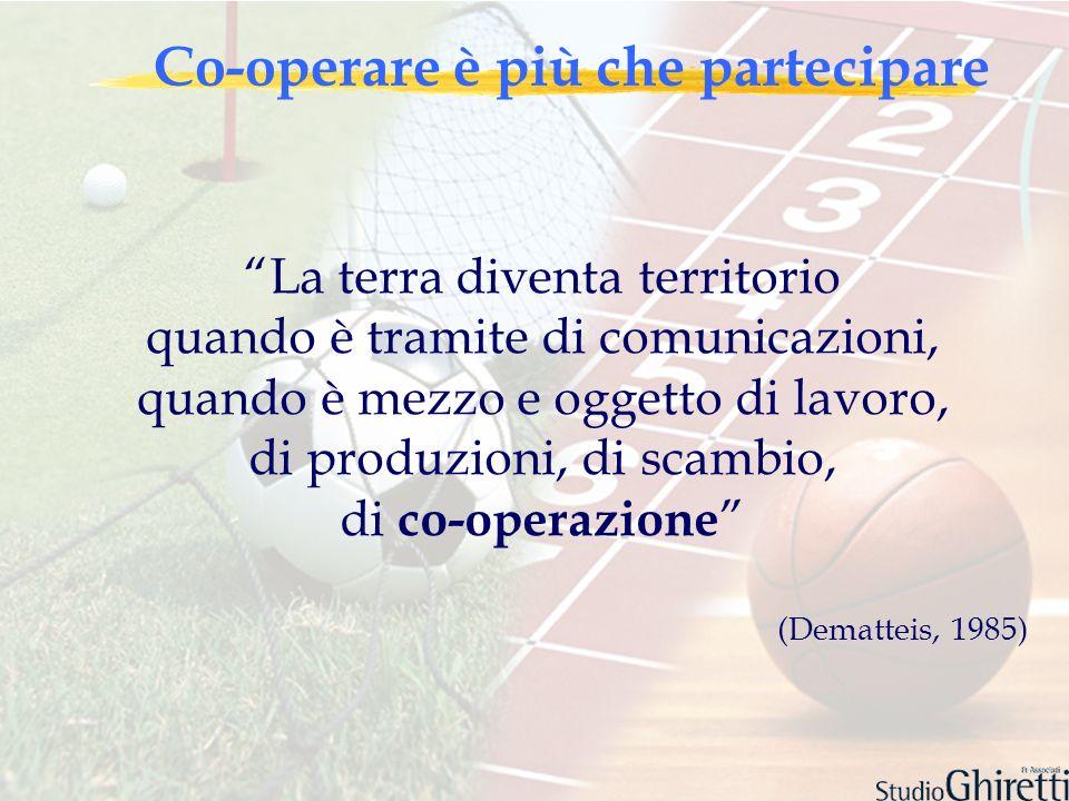 Co-operare è più che partecipare La terra diventa territorio quando è tramite di comunicazioni, quando è mezzo e oggetto di lavoro, di produzioni, di