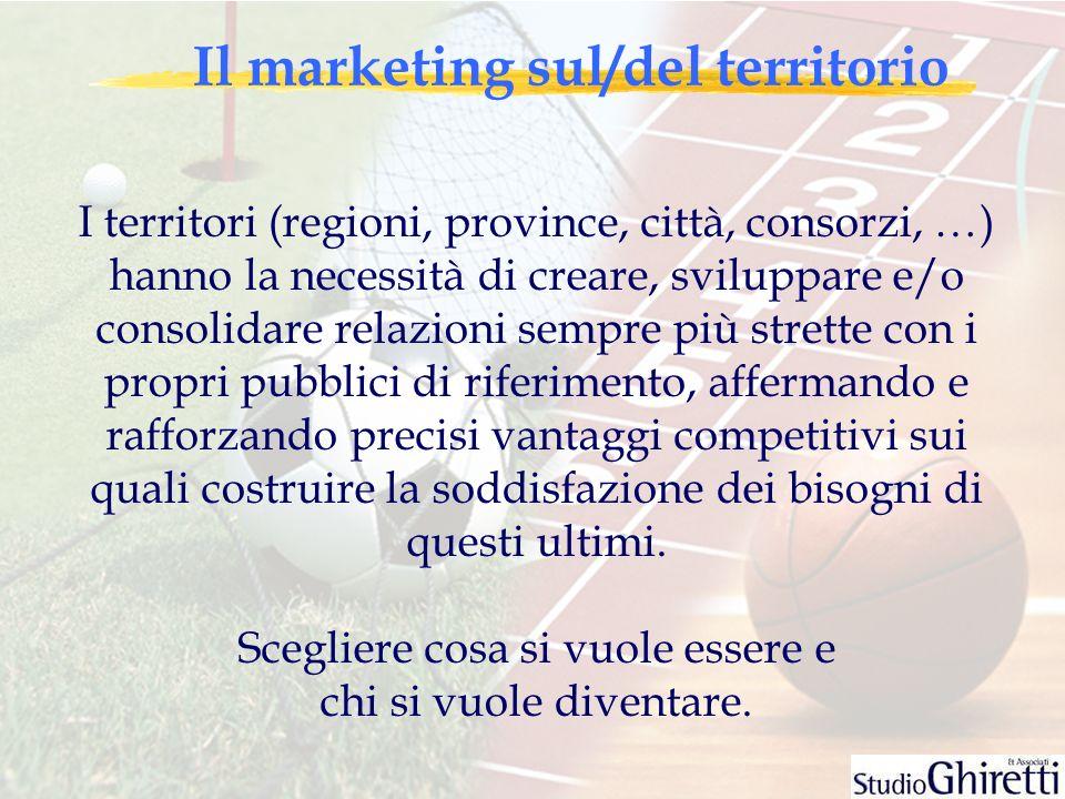 Il marketing sul/del territorio I territori (regioni, province, città, consorzi, …) hanno la necessità di creare, sviluppare e/o consolidare relazioni