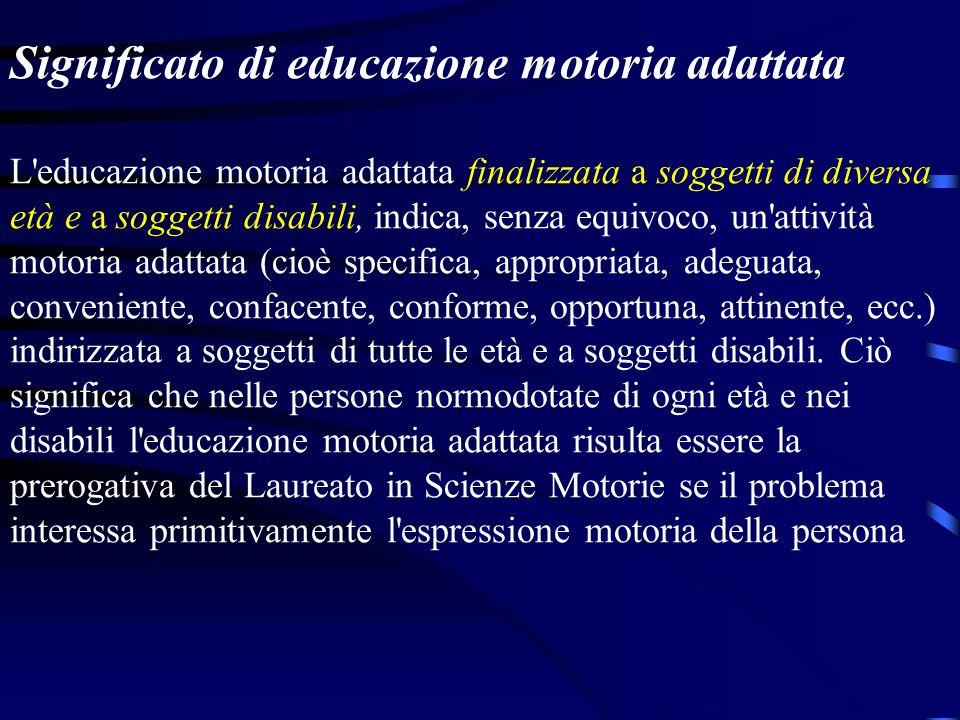 Significato di educazione motoria L'educazione motoria indica tutto ciò che nel motorio ha la capacità di educare l'aspetto somato-organico del compor