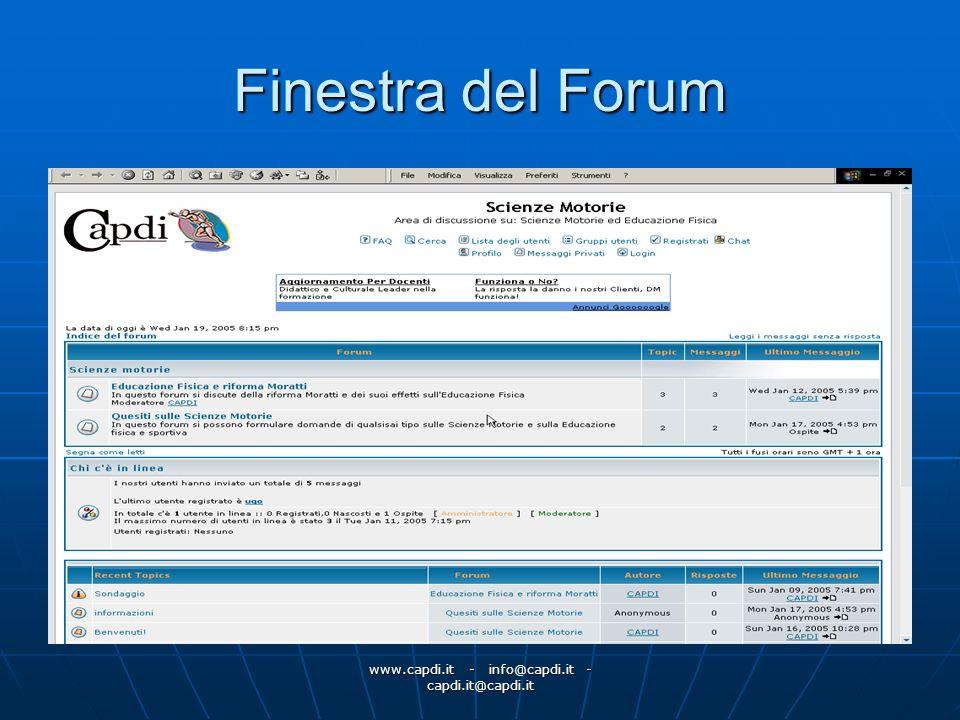 www.capdi.it - info@capdi.it - capdi.it@capdi.it Finestra del Forum