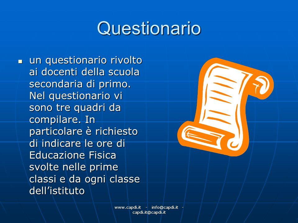 www.capdi.it - info@capdi.it - capdi.it@capdi.it Questionario un questionario rivolto ai docenti della scuola secondaria di primo. Nel questionario vi