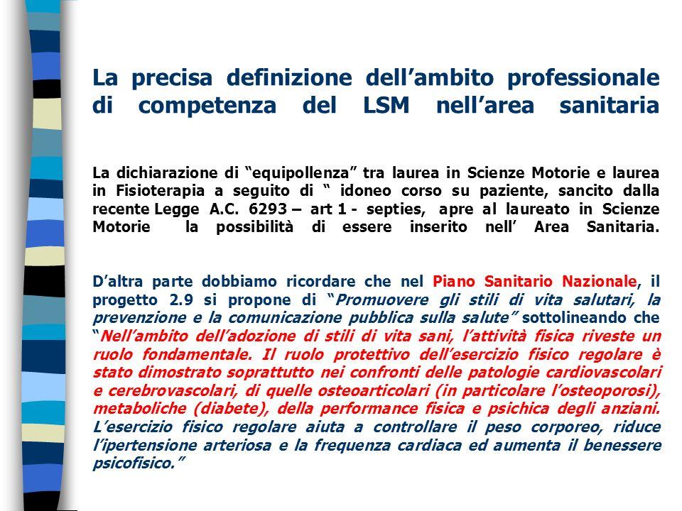 La precisa definizione dellambito professionale di competenza del LSM nellarea sanitaria La dichiarazione di equipollenza tra laurea in Scienze Motori