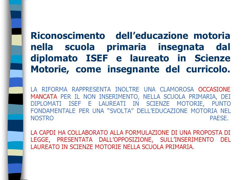 Riconoscimento delleducazione motoria nella scuola primaria insegnata dal diplomato ISEF e laureato in Scienze Motorie, come insegnante del curricolo.
