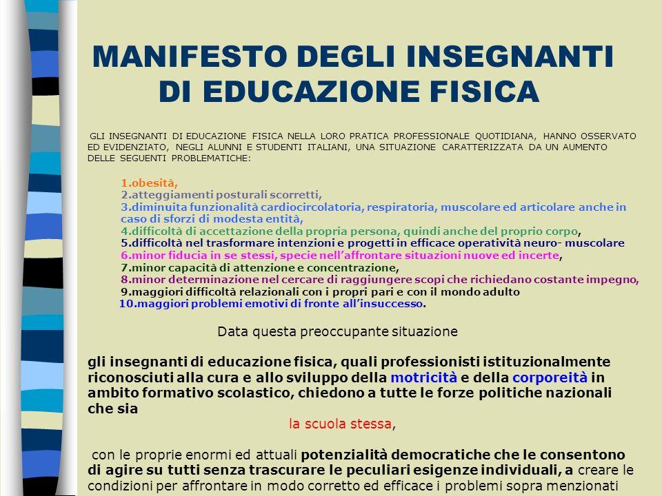MANIFESTO DEGLI INSEGNANTI DI EDUCAZIONE FISICA GLI INSEGNANTI DI EDUCAZIONE FISICA NELLA LORO PRATICA PROFESSIONALE QUOTIDIANA, HANNO OSSERVATO ED EV