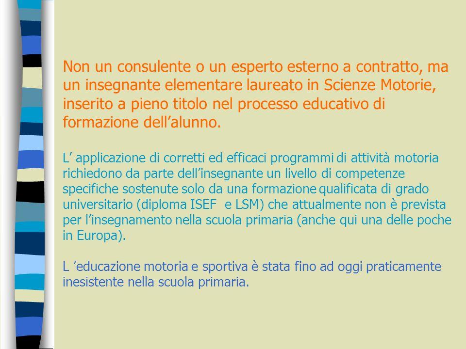 Obiettivo a medio/lungo periodo (2/4 anni) un insegnante curriculare inserito a pieno titolo nel processo educativo di formazione dell alunno.
