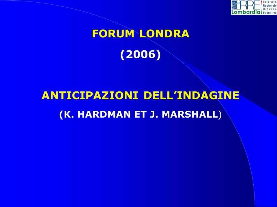 FORUM LONDRA (2006) ANTICIPAZIONI DELLINDAGINE (K. HARDMAN ET J. MARSHALL)