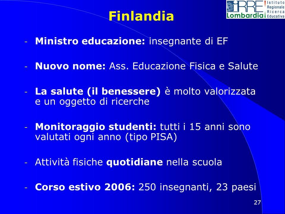 27 Finlandia - Ministro educazione: insegnante di EF - Nuovo nome: Ass.