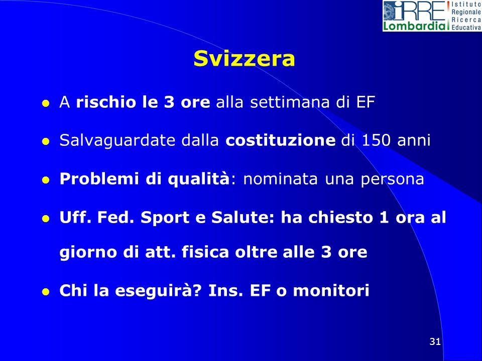 31 Svizzera l A rischio le 3 ore alla settimana di EF l Salvaguardate dalla costituzione di 150 anni l Problemi di qualità: nominata una persona l Uff.