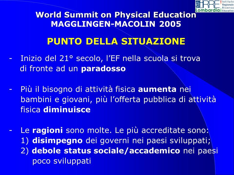 World Summit on Physical Education MAGGLINGEN-MACOLIN 2005 PUNTO DELLA SITUAZIONE - Inizio del 21° secolo, lEF nella scuola si trova di fronte ad un paradosso - Più il bisogno di attività fisica aumenta nei bambini e giovani, più lofferta pubblica di attività fisica diminuisce -Le ragioni sono molte.