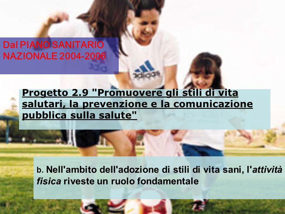 : Dal PIANO SANITARIO NAZIONALE 2004-2006 Progetto 2.9 Promuovere gli stili di vita salutari, la prevenzione e la comunicazione pubblica sulla salute b.